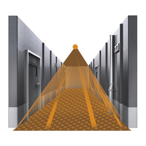 Korridor, montagehöjd 2,5-4,0 meter.