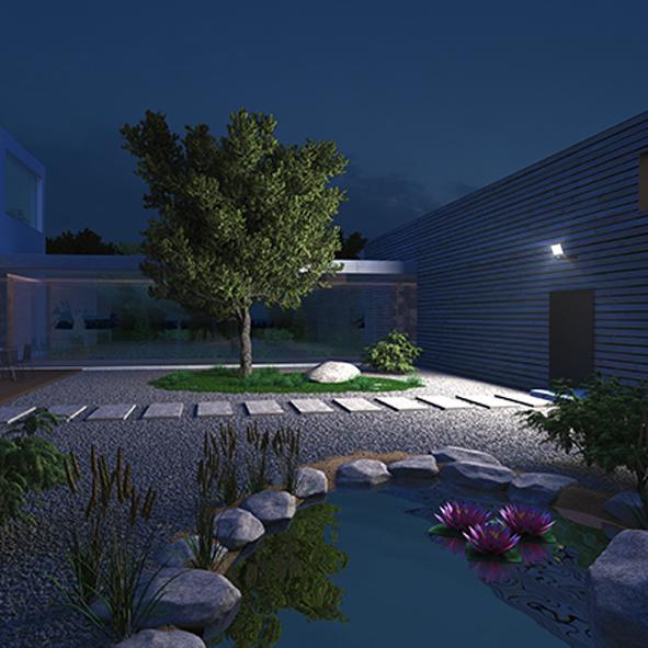 LED-Strålkastare XLED ONE XL i trädgård